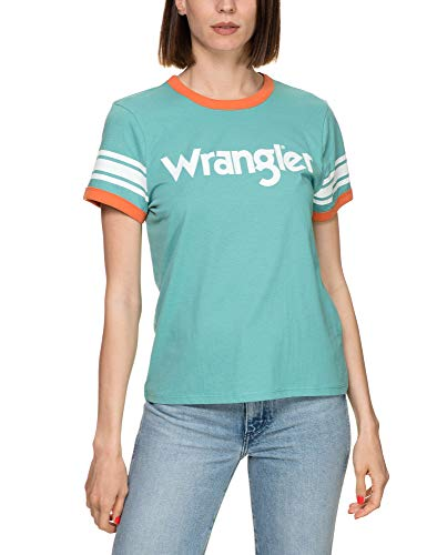 Wrangler Women's Sporty T-Shirt with Logo Light Blue in Size Medium