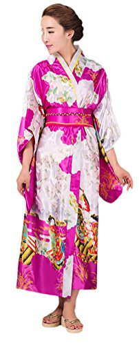 Soojun Women's Traditional Japanese Kimono Style Robe Yukata Costumes 3 Rose Red (Traditional Rose Style)