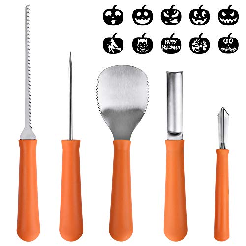 Pumpkin Caring Kit, OTBBA 5 Piece Halloween Pumpkin Carving Tool Set With 10 Carving Stencils DIY Halloween Jack-O-Lantern For Pumpkin Party Decorations]()