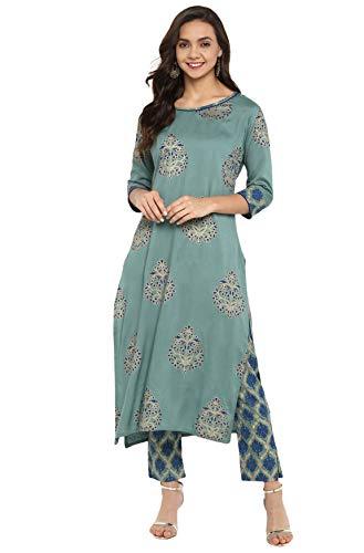 Janasya Indian Tunic Tops Rayon Kurti Set for Women (SET094-KR-NP-XS) Turquoise