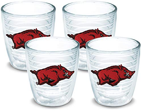 Tervis 1007809 Arkansas Razorbacks Tumbler with Emblem 4 Pack 12oz, Clear Arkansas 12 Ounce Tumbler