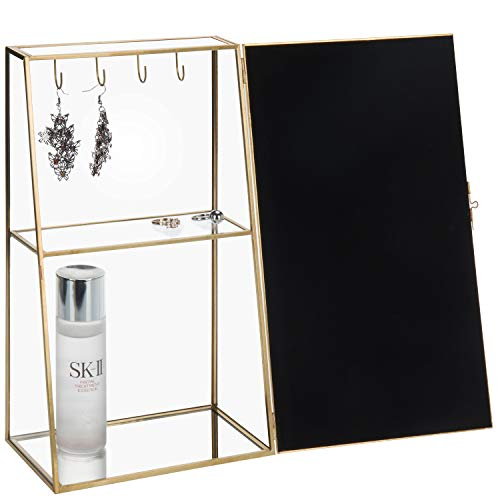 MyGift Vintage Glass & Brass Jewelry Storage Cabinet Armoire with Mirror