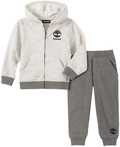 Timberland Baby Boys 2 Pieces Jogger Set, Oatmeal/Gray, 18M