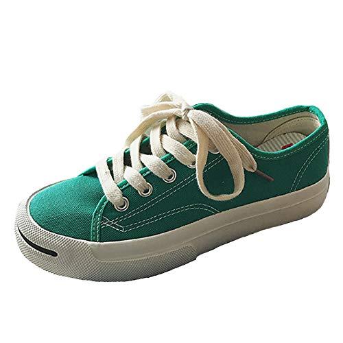 Nero Tacco Piatto Zhznvx Punta Donna Da Comfort rosso Sneakers Tessuto Verde Green Scarpe Primavera Tonda 0840P