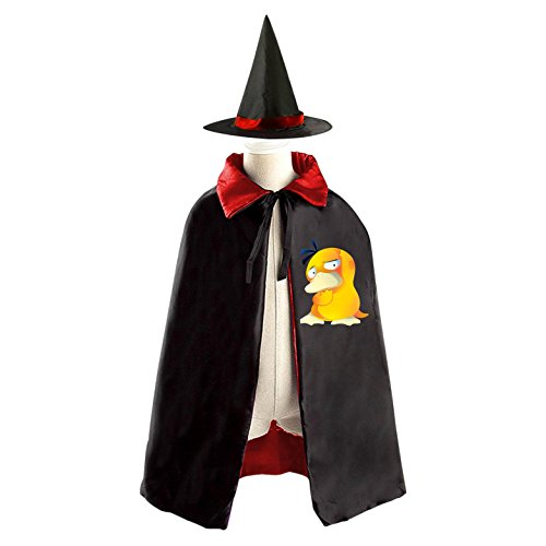 Cute Psyduck Kids Halloween Party Costume Cloak Wizard Witch Cape With (Psyduck Costume)