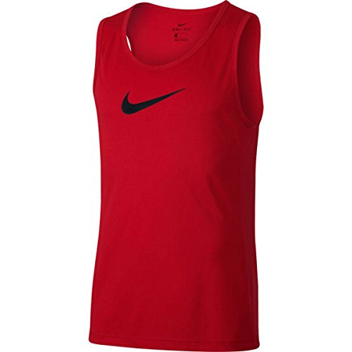 NIKE Dry Mens Basketball Sleeveless Top, Red, Large