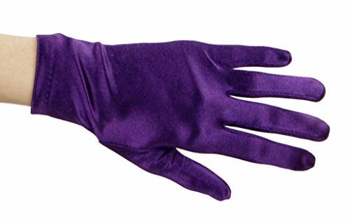 Beautiful Wrist Length Short Satin Gloves in 34 Colors Assorted Glove Colors: Plum