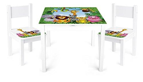 Tisch und Stühle für kinder, 1 Tisch + 2 Stühle Motiv: Dschungel ...