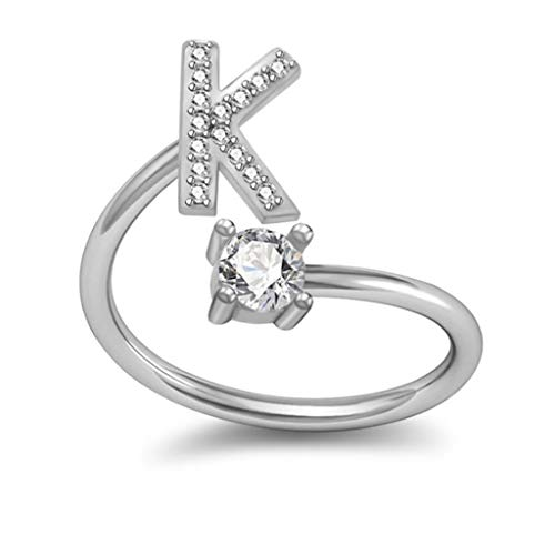 Initial Letter Ring, Haluoo Sterling Silver Alphabet Initial Ring A-Z Stackable Ring 26 Letters Statement Ring Adjustable Open Wrap Engagement Promise Ring Band for Women Men (K)