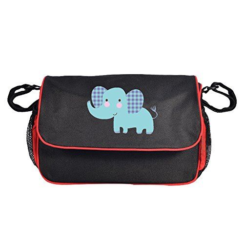 Baby Stroller Organizer Diaper Bag,Moisture-proof Baby Stroller Bag with High-capacity for Bottle, Diapers, Clothing, Toys, Cellphone Black Elephant by Babyhood