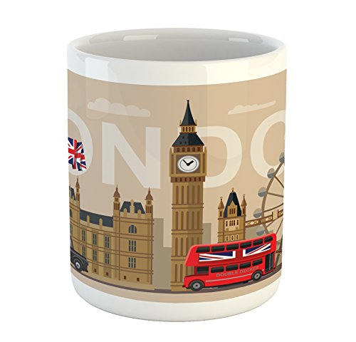 Ambesonne London Mug, Famous Britain Landmarks Monuments Art Pattern Touristic Travel Destination, Ceramic Coffee Mug Cup for Water Tea Drinks, 11 oz, Beige