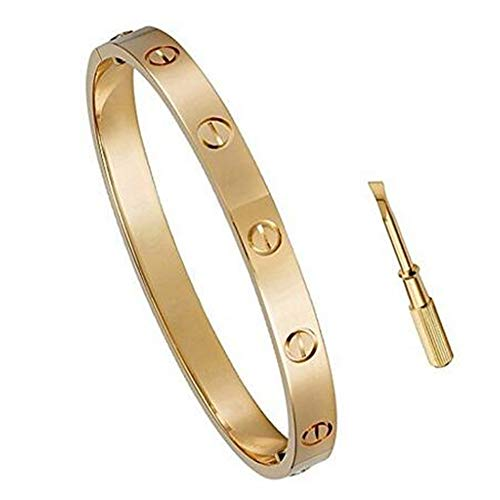 Inspired Cartier Jewelry (Women's Fashion Love Bracelet - Titanium Steel Screws Designs Bracelets (Rose Gold, 7.5))