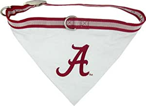 NCAA BANDANA - ALABAMA CRIMSON TIDE DOG BANDANA with Reflective & Adjustable DOG COLLAR, Large