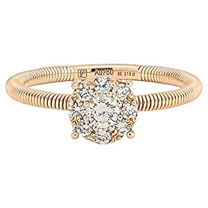 365Love Women's 18K Solid Rose Gold Diamond Ring - 12 US