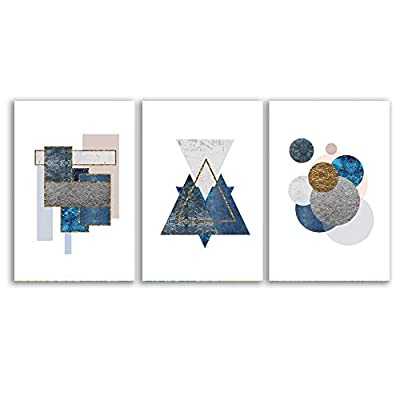 Dazzling Style, That's 100% USA Made, Abstract Geometry Home Artwork for Living Room Bedroom x 3 Panels