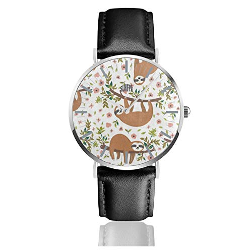 Cute Animal Sloth Tree Flower Men's Fashion Minimalist Unisex Wrist Watch with Silvery Stainless Steel Watchcase, Leather Band, Crystal Dial 38mm