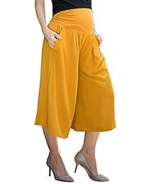 Sweet Mommy Maternity Women's Elastic Wide Leg Culottes Pants