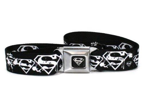 Superman Shield Splatter Black/white Seatbelt Belt