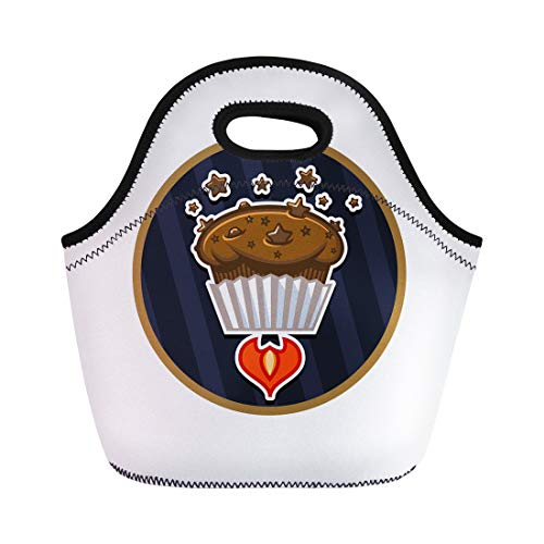 Semtomn Lunch Bags Cafe Bakery Fresh Chocolate Star Ship Space Muffin Biscuit Neoprene Lunch Bag Lunchbox Tote Bag Portable Picnic Bag Cooler Bag