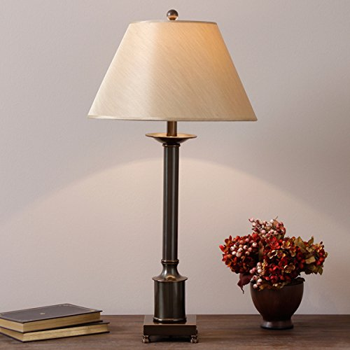 Metal Column Base Table Lamp with Antiqued Bronze Finish and Beige Fabric Drum Shade- Requires One (1) 100-watt Type A Bulb (Not Included) Assembly Required - Bronze Finish Bulbs