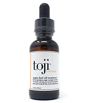 Toji Essentials Argan Hair Growth Oil Treatment w/ Special 9 Ingredient Natural Anti-Hair Loss Blend of Virgin Moroccan Argan, Jojoba, Grapeseed, Apricot Kernel, & More for Men and Women (1 Oz.)