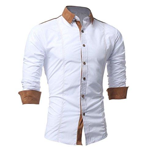 Hot Sales Yang-Yi 2017 Men Shirt Fashion Solid Color Male Long Sleeve Shirt (White, S)