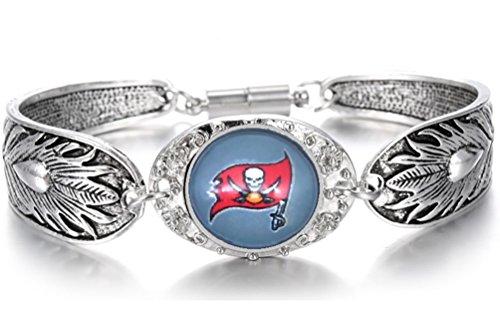 Devastating Designs Women's Silver Tampa Bay Buccaneers Bracelet Football Gift