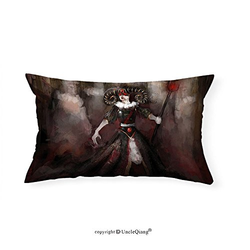 VROSELV Custom pillowcasesGothic Medieval Evil Woman Horns Mask Witch Myth Fantasy Old Fashion Scary Watercolor for Bedroom Living Room Dorm Black Red Grey(20''x30'') by VROSELV