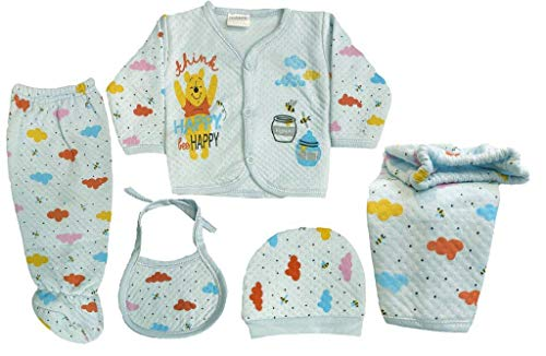 Icable Newborn Baby Soft Feel Cotton Polyester Blend Top Pyjama With Cap And Bib Set For New Born Babies (0-3 Months) PRINT MAY VARY
