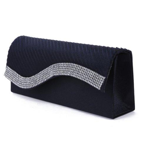 Bag Evening Satin Pleated Clutch Flap Damara Navyblue Womens Crystal 0USqS