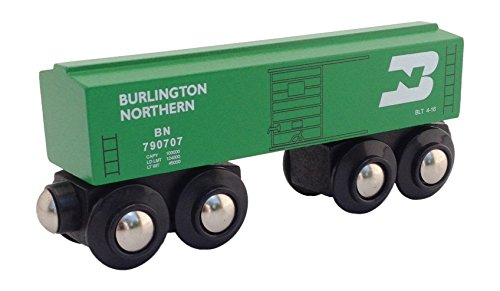 Burlington Northern Boxcar magnetic wooden train