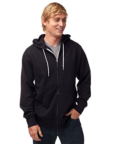 Global Men's or Women's Slim Fit Lightweight Zip Up Hoodie XXXL Black ()