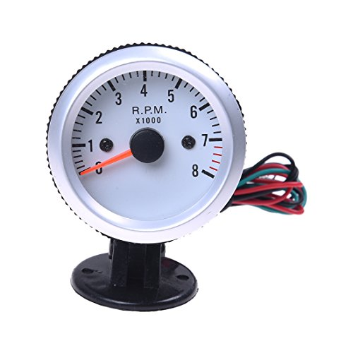 """TOOGOO(R) Tachometer Tach Gauge with Holder Cup for Auto Car 2"""" 52mm 0~8000RPM Blue LED Light"""