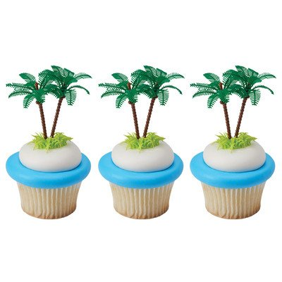 Palm Trees With Coconuts -24pk Cupcake / Desert / Food Decoration Topper Picks with Favor Stickers & Sparkle (Palm Tree Party Picks)
