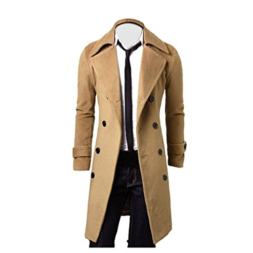 Coper Winter Men Slim Stylish Trench Coat Double Breasted Long Parka Jacket (XXL, Khaki) (Mens Floor Length Coat)
