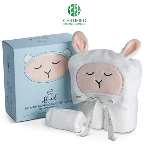 Premium Organic Hooded Baby Towel and Washcloth Gift Set
