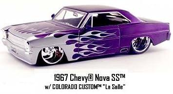1967 Chevy Nova Ss 1 24 Big Time Muscle Jada Toys Purple W Flames