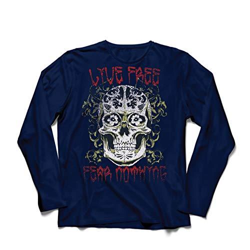 lepni.me Men's T-Shirt Live Free Fear Nothing, Skull Shirt (X-Large Blue Multi