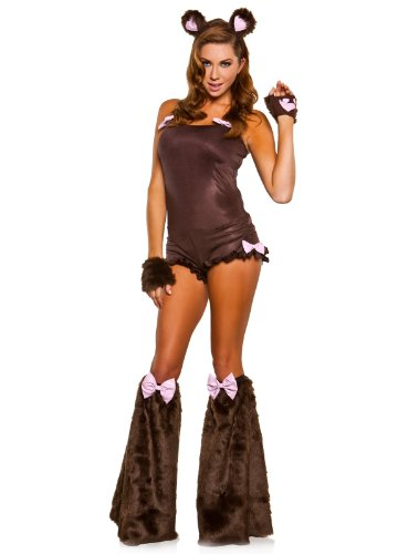 Sexy Teddy Bear Costumes - Elope Women's Sexy Teddy Bear Adult Costume Small Brown