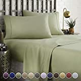 HC COLLECTION Hotel Luxury Comfort Bed Sheets Set, 1800 Series Bedding Set, Deep Pockets, Wrinkle & Fade Resistant, Hypoallergenic Sheet & Pillow Case Set(Queen, Sage)