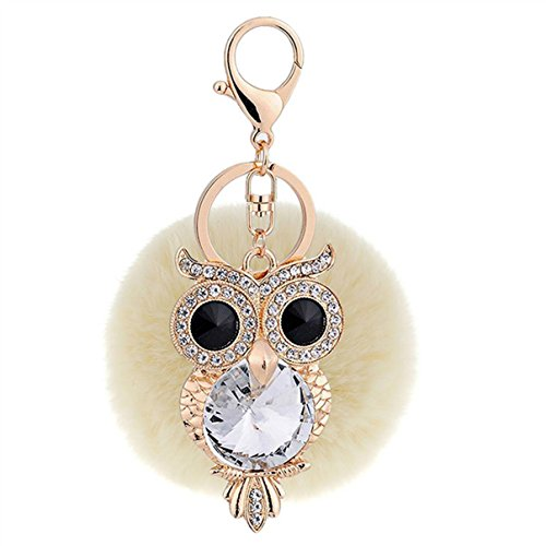 1 Pc Mini Pocket Crystal Rhinestone Owl Light Brown Fur Keychain Keyring Keyfob Little Bird Rabbit Fluffy Pompom Ball Pendant Keys Chains Deluxe Popular Cute Wristlet Utility Keychains Tool, Type-06