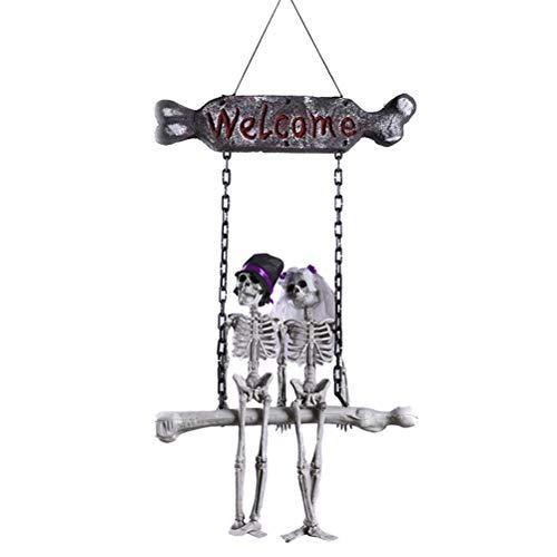 Skeleton Bride and Groom Door Hanger Ghost Skull Design Halloween Hanging Door Ornaments Decoration for Halloween