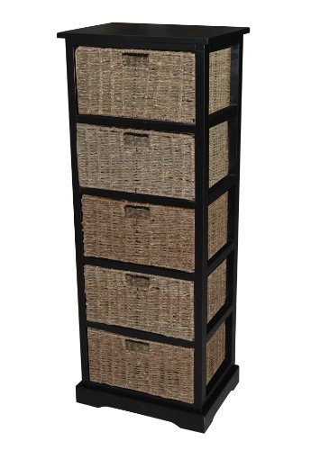 Urbanest Lexington Accent Cabinet Storage with 5 Seagrass Baskets, 44.5