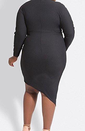 Coolred-femmes Couleur Pure Cou V Découper Plus Robe Irrégulière Soirée Noire