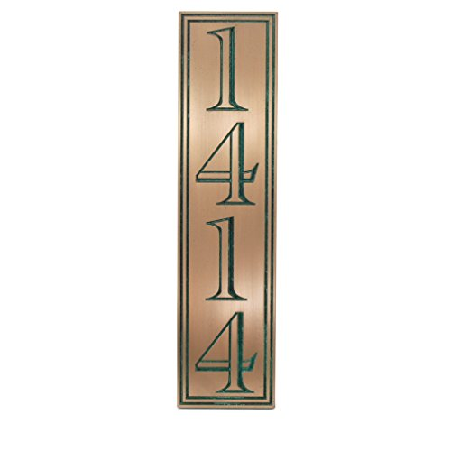 Hesperis Vertical Address Plaque 4# 5x20 - Recessed Bronze Verdi Coated by Atlas Signs and Plaques