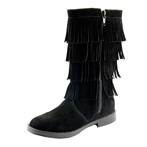 The Doll Maker Black Tall Fringe Flat Suede Boot - Size: Little Kid - Tall Fringe