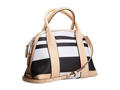 COACH Bleecker Mini Preston Satchel in Black Striped Coated Canvas; (Bleecker Canvas)