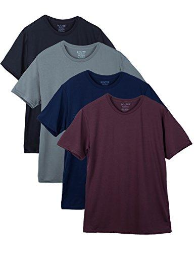 Bolter 4 Pack Mens Performance Short Sleeve T Shirts Crewneck (Large, - Shop Crew Ro