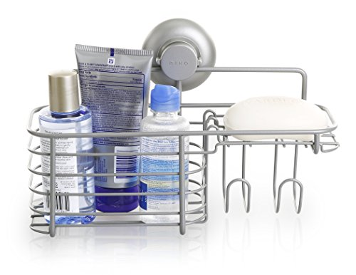 BINO SMARTSUCTION Rust-Resistant Satin Nickel Shower Caddy, Combo Basket (Corner Basket Combo)