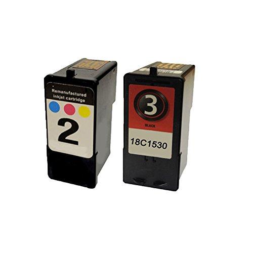Remanufactured Color Black Ink Cartridge for Lexmark 2 / 18C0190 Lexmark 3 / 18C1530 -2PK